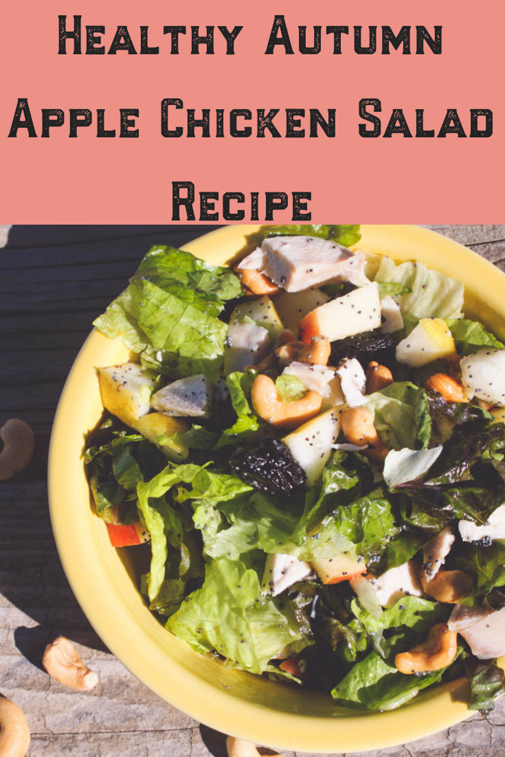 Who says clean eating salads are just for summer? I am always looking for healthy and easy chicken green salad recipes. This homemade gluten, dairy and cane sugar free is perfect for lunch and dinner as it only takes a few minutes to throw together. The fruit is in season in autumn, but it can be enjoyed year-round!#chicken #salad #recipe #healthy #cleaneating #easy #fruit #autumn #fall