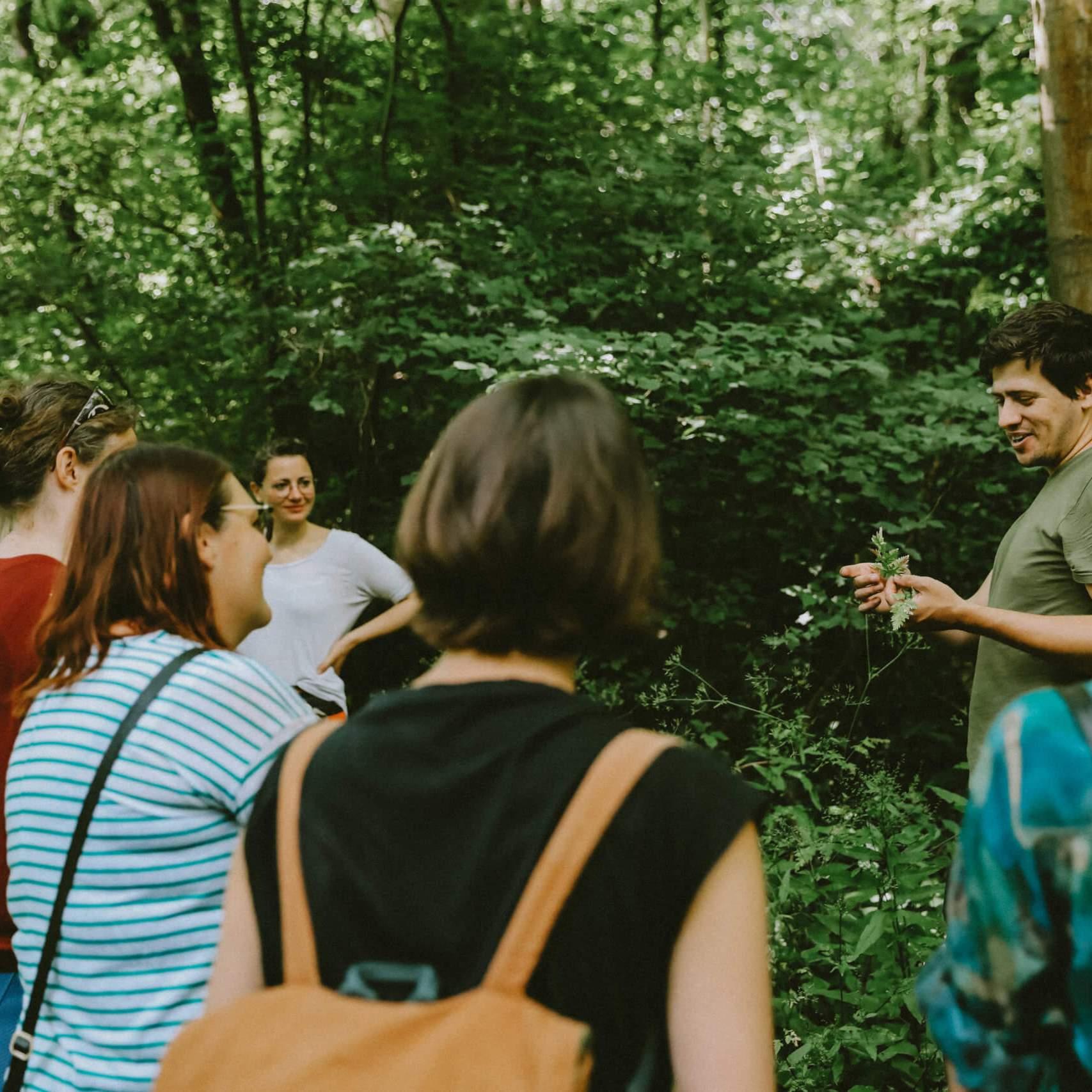 foraging walk people chatting