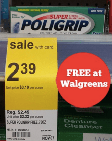 Free Super Poligrip at Walgreens