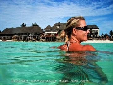 swimming in the clear water's off Zanzibar
