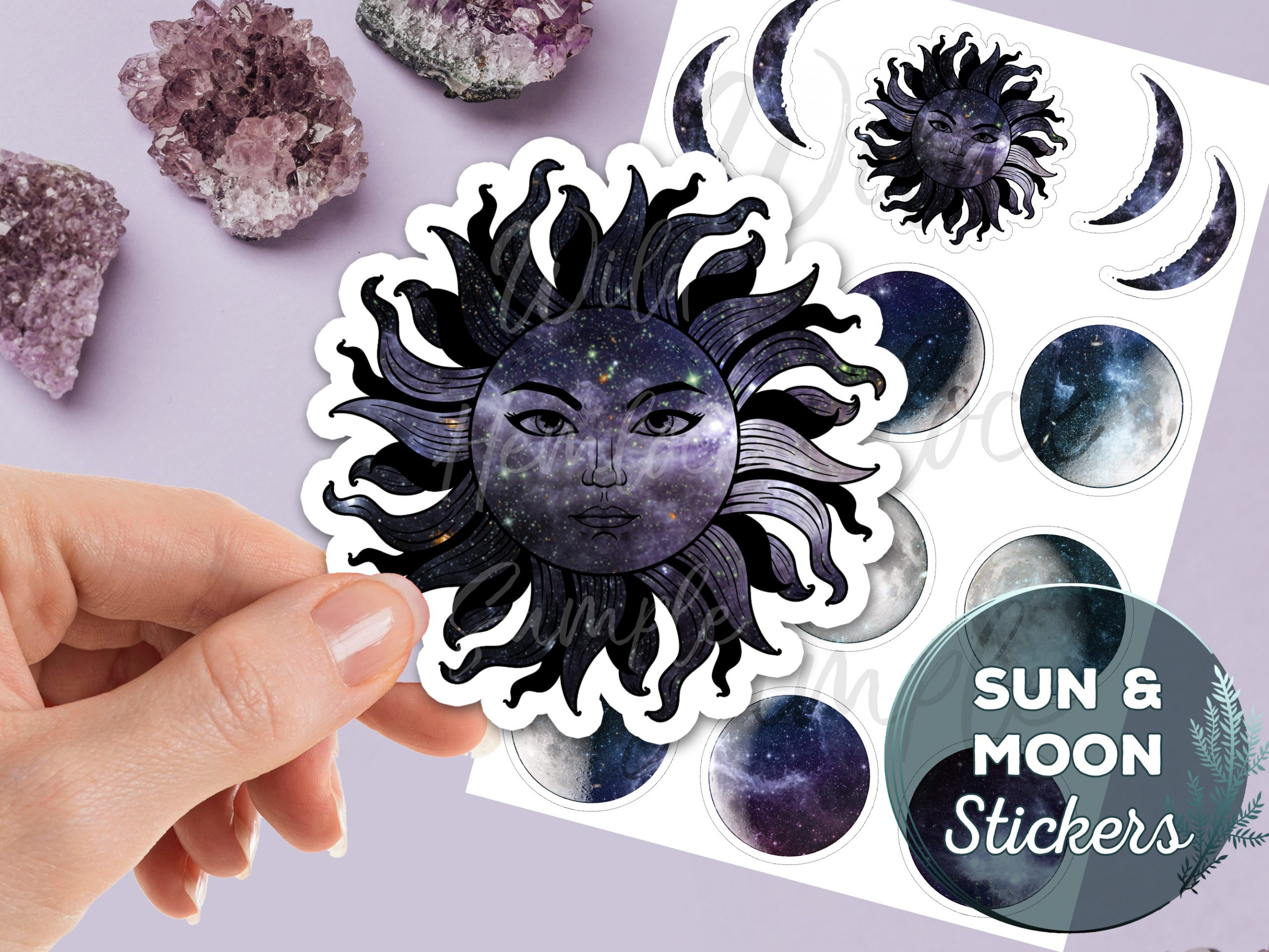 Moon Stickers Sticker Pack Laptop Stickers Galaxy Sticker Celestial Moon Phases Sun and Moon Crescent Moon Vinyl Stickers Witch Stickers at WildHemlock.com