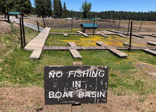 Howard Prairie Reservoir in June 2021. Oregon is facing an extreme drought this year and trout stocking may change due to low water. See ODFW's Recreation Report for the latest regulations and stocking information. Photo by ODFW.