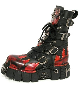 New Rock Boots 163 Itali Negro Antic Fuego Tower Negro Acero