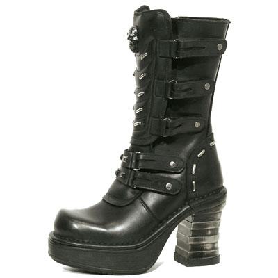 New Rock Boots 8317 Itali y Nomada Negro Plataf NRK Negro Tacon Bandas Acero Negro