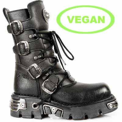 New Rock Boots 373 S7 VEGAN NEGRO, REACTOR NEGRO TOBERAS OR (TODO SINTETICO)