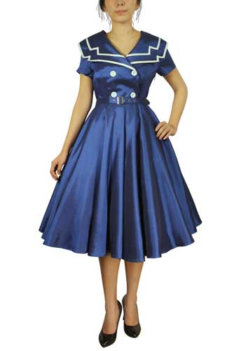 Chicstar Vintage Sailor Swing Dress - Blue