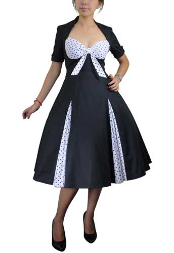Chicstar Polka-dot Swing Dress black w/white
