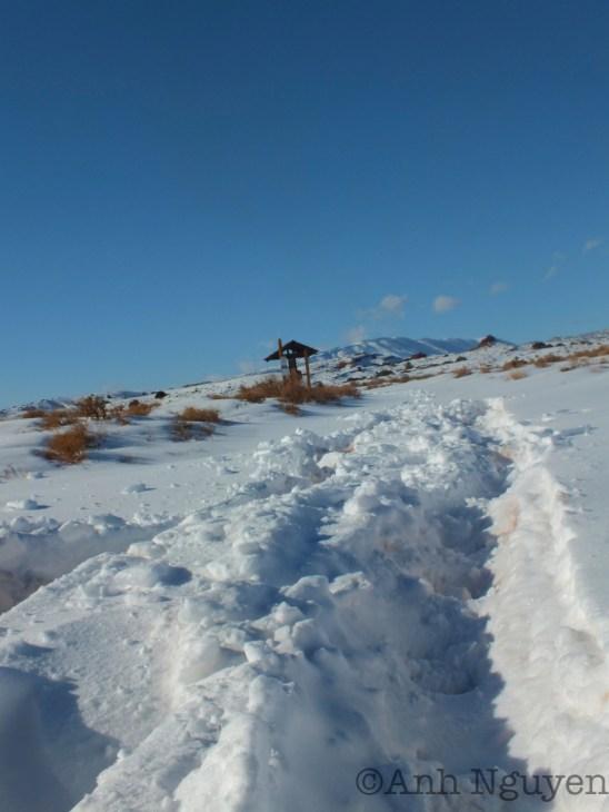 Snow depth at bottom of Sykes Ridge Road, 2-18-13