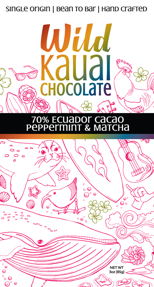 Wild Kauai Chocolate 70% Cacao Peppermint Matcha Bar