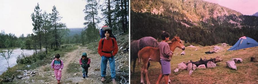 Naila y Kilian Jornet con su madre en los Pirineos. Fotografías: Núria Burgada