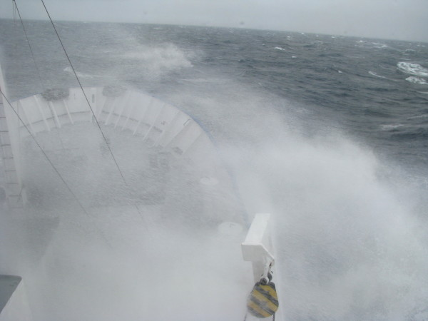 Spray with 40 knots of wind speed