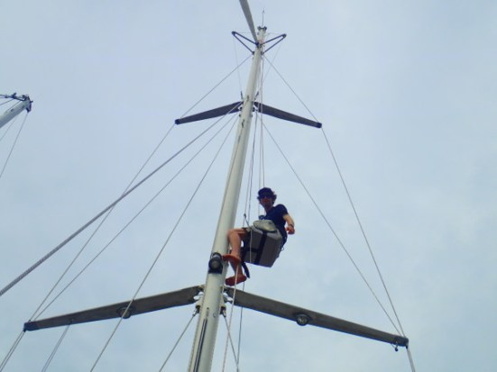 Checking the rigging before setting sail