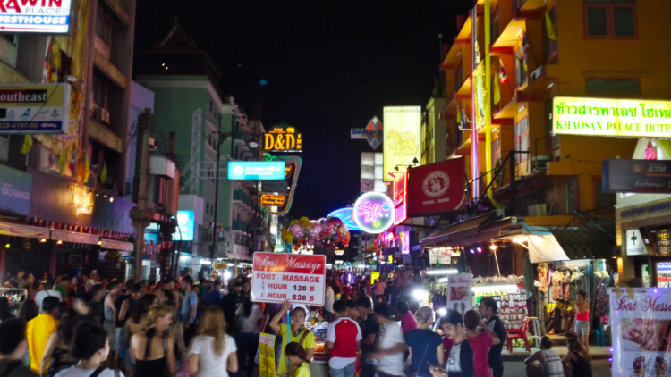 Nightlife in Khao San Road at midnight