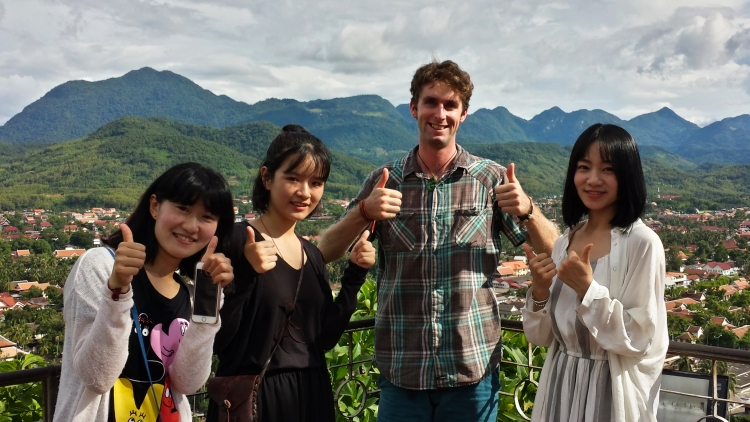 With Arya and her 2 friends from Shanghai, China, at the temple at the top of the hill in Luang Prabang.