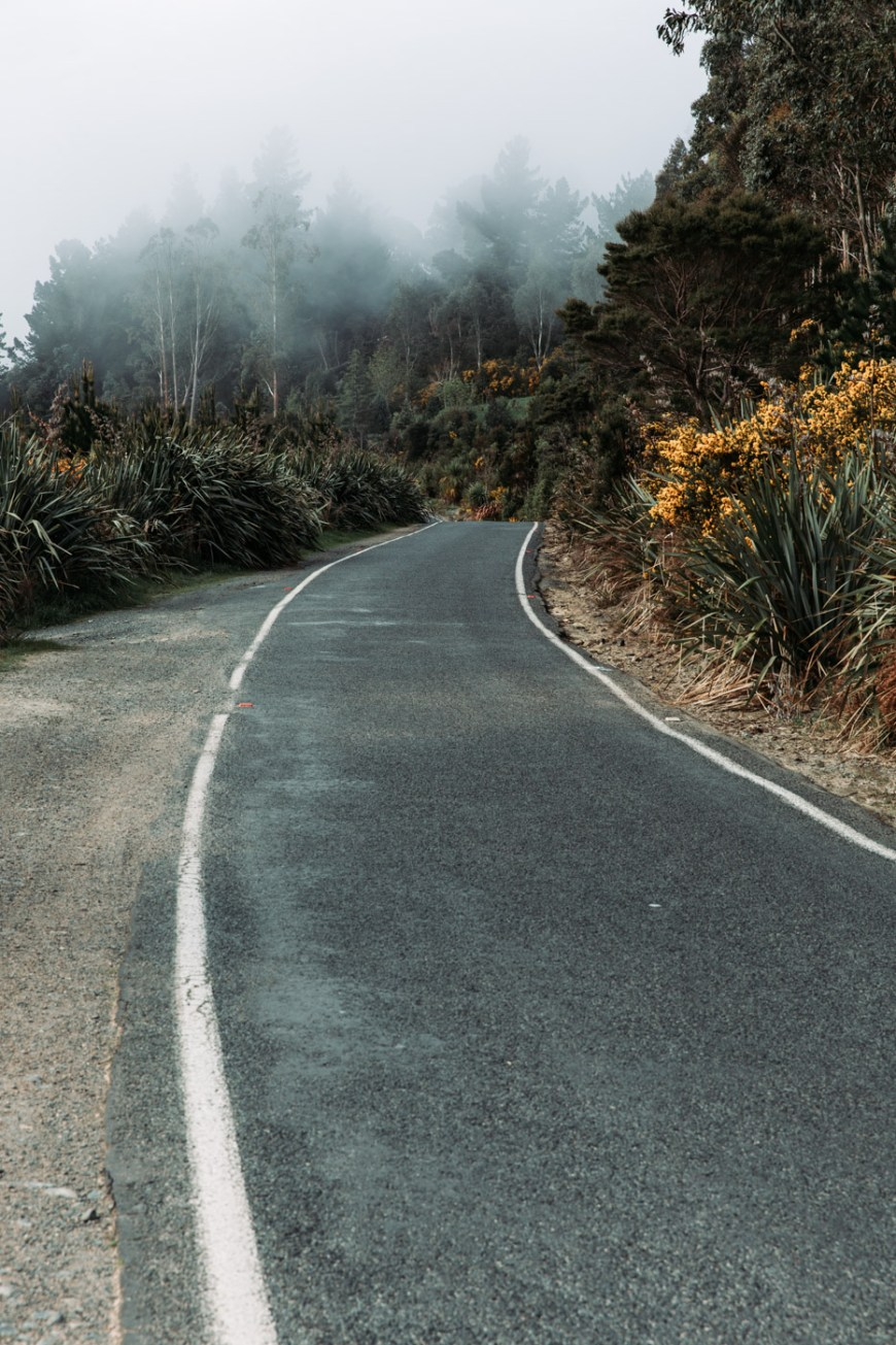 Single land winding road in New Zealand. Dunedin, South Island