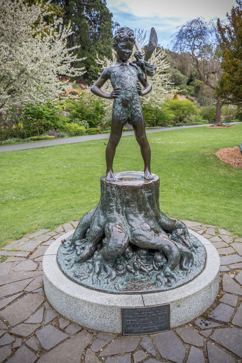 Peter Pan Statue in the Dunedin Botanical Gardens, South Island, New Zealand