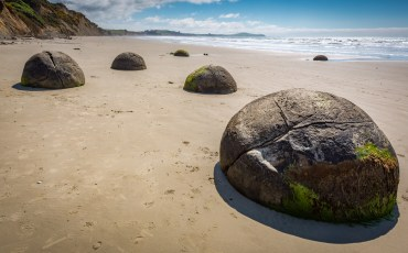 Moerakie Boulders on the beach on the South Island of New Zealand