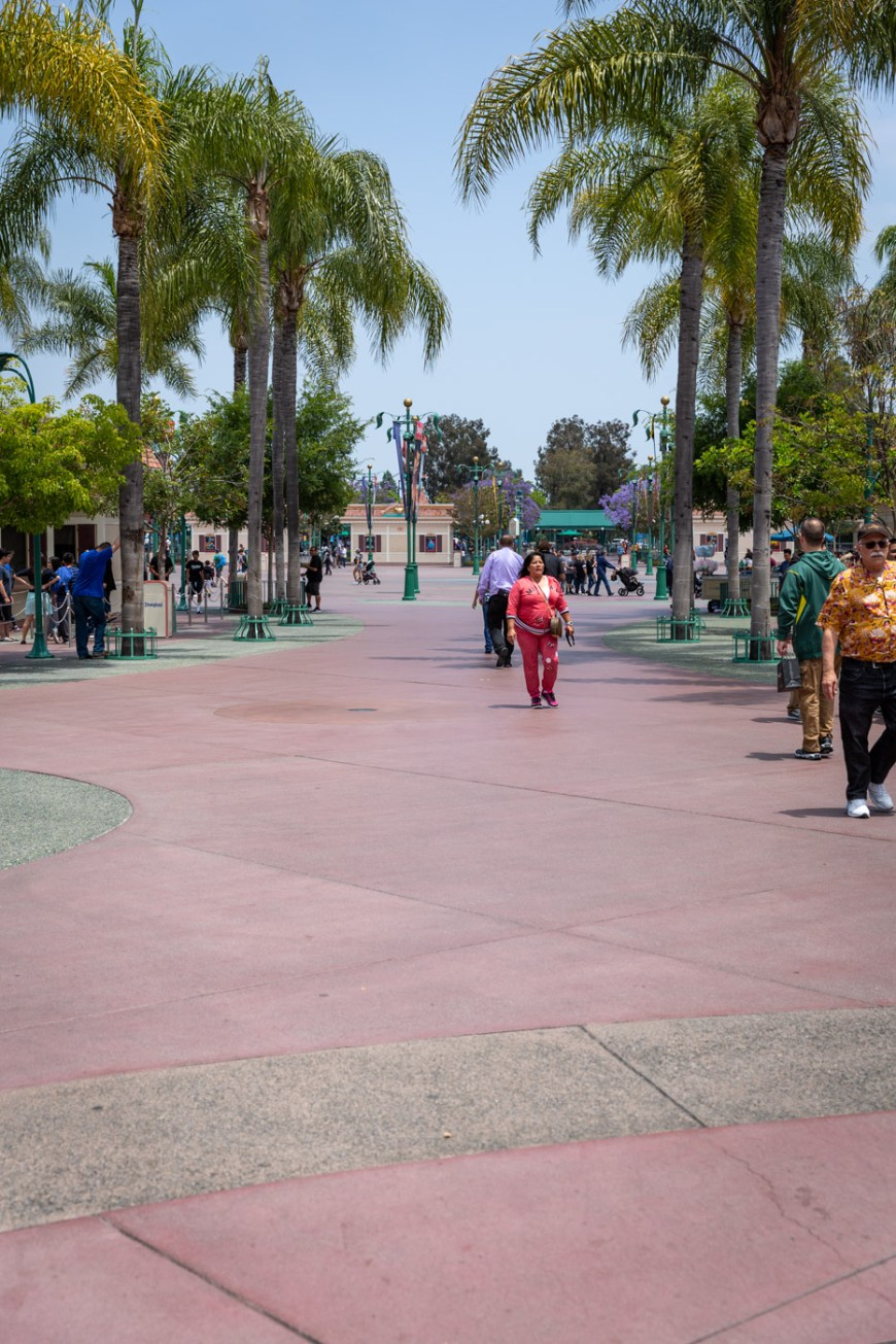 The area between the parks is empty at Disneyland. The best time to visit the parks is now.