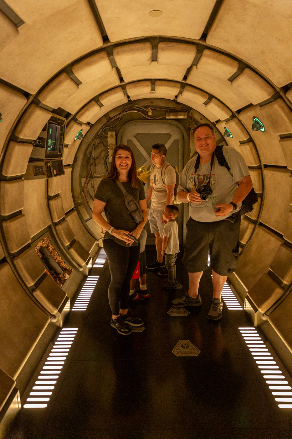 Smuggler's Run Queue inside Star Wars Land at Disneyland. Galaxy's Edge at Disneyland. Inside the Millennium Falcon