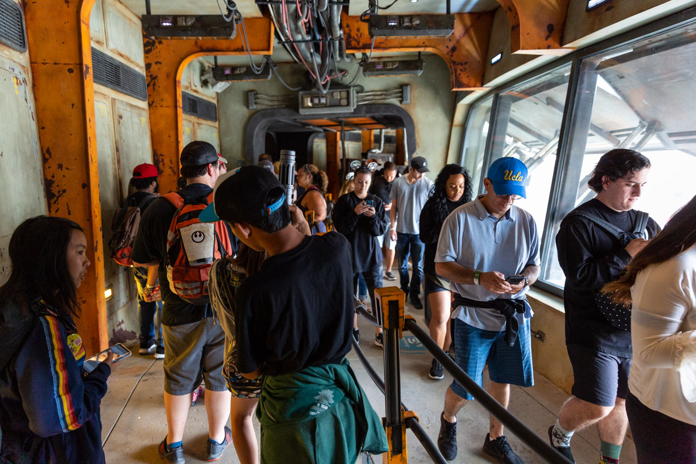 Smuggler's Run Queue inside Star Wars Land at Disneyland. Galaxy's Edge at Disneyland