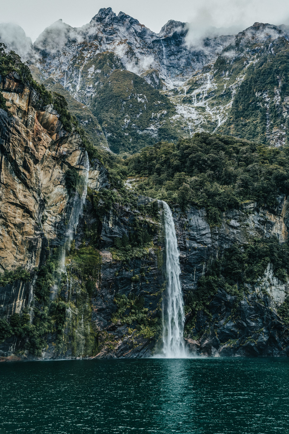 Waterfalls on our Milford Sound cruise.