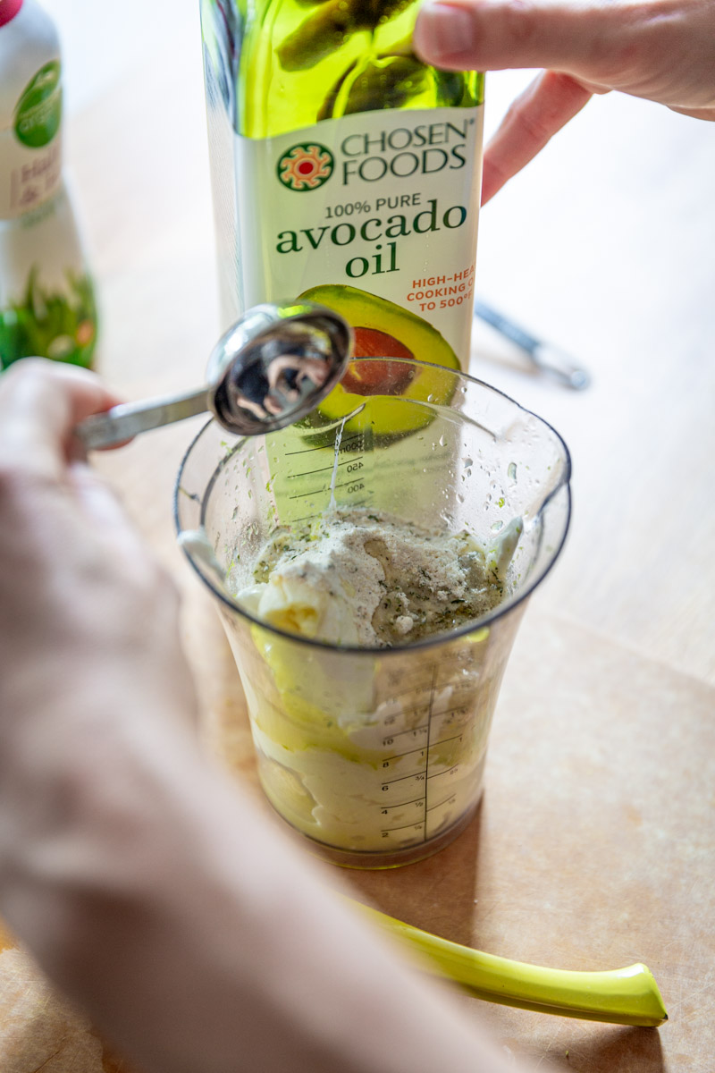 Healthy Garlic Lime yogurt salad dressing