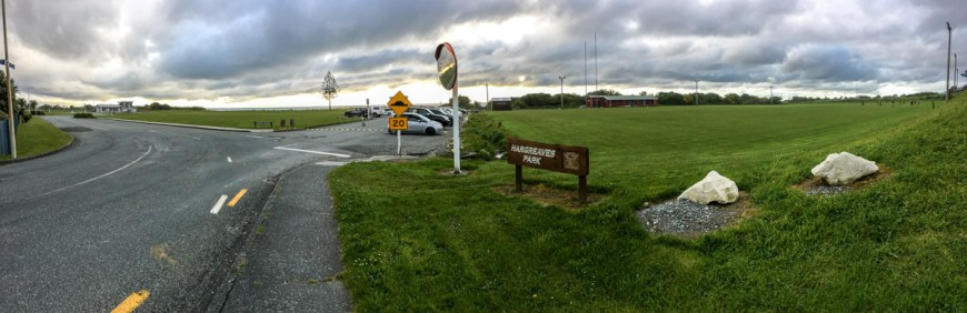 Greymouth Rugby Pitch by the ocean.
