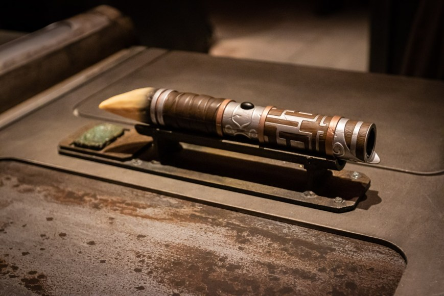 A custom lightsaber built at Savi's Workshop at Disneyland in California