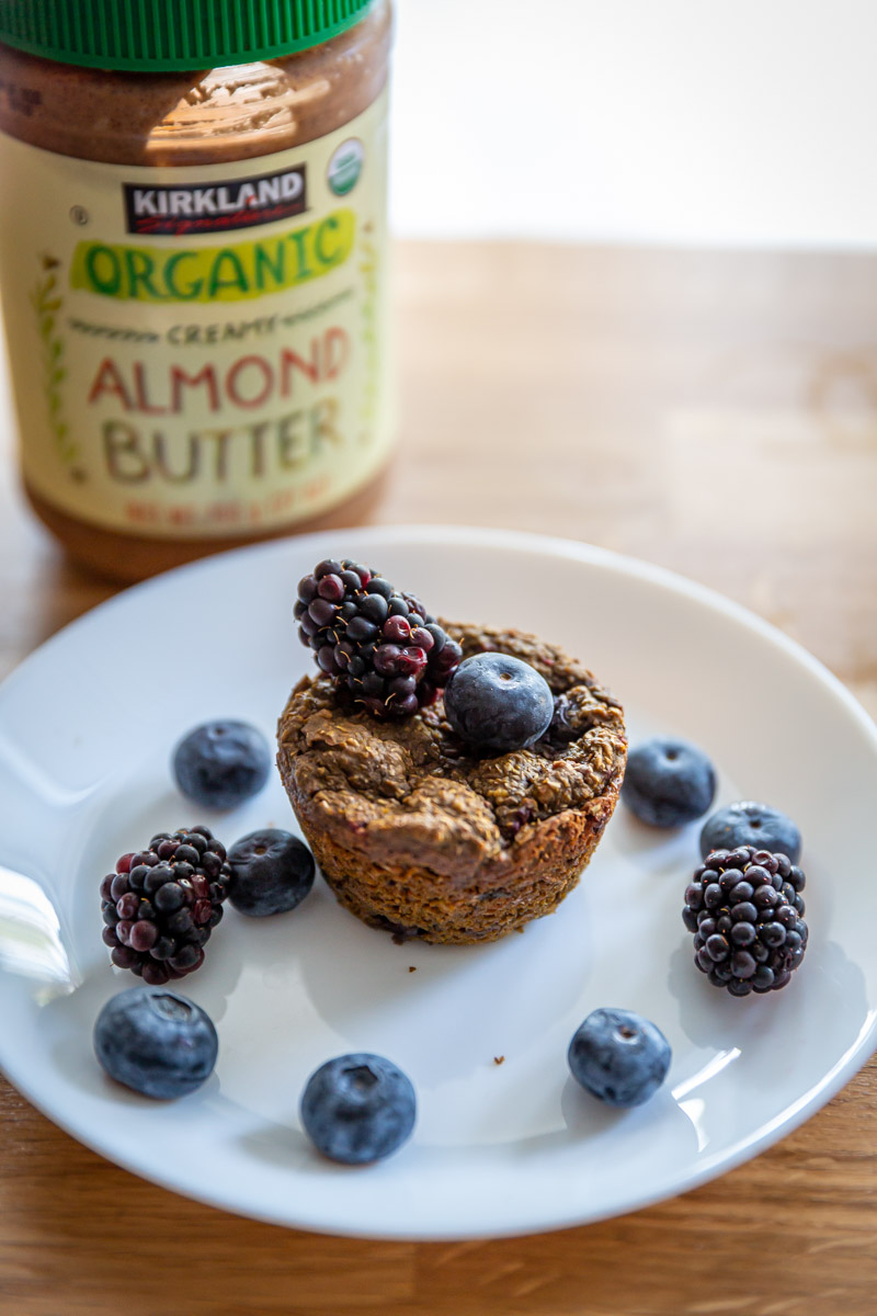 Pre Workout Ginger Molasses Bran Muffins with Almond Butter