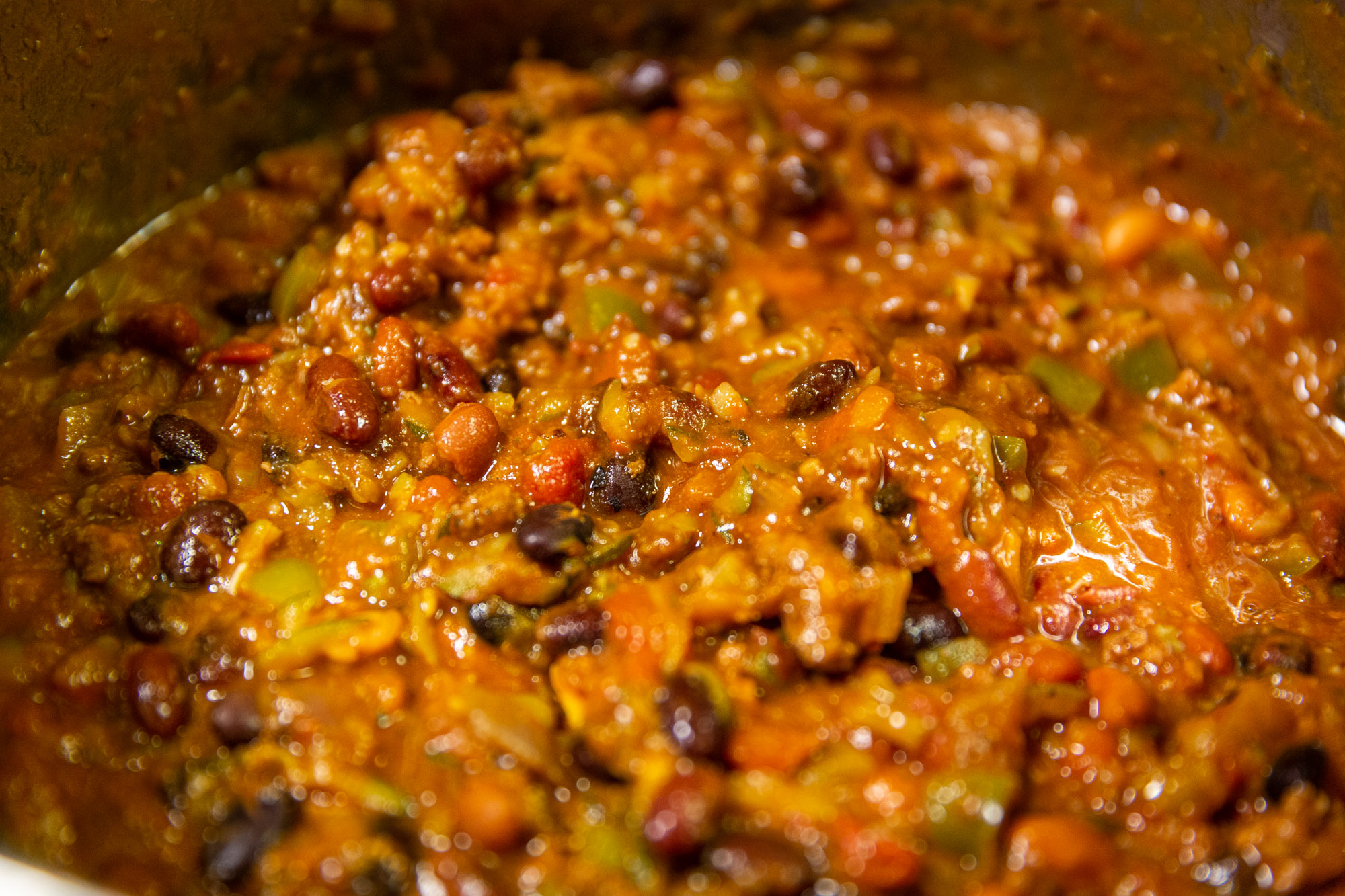 The finished Black Bean Pumpkin Chili getting ready to simmer