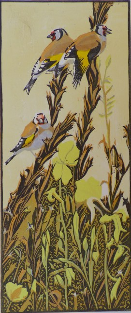 Goldfinches and Evening Primroses