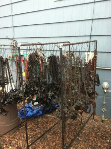 Collection of foothold traps (Photo by Stephen M. Vantassel).