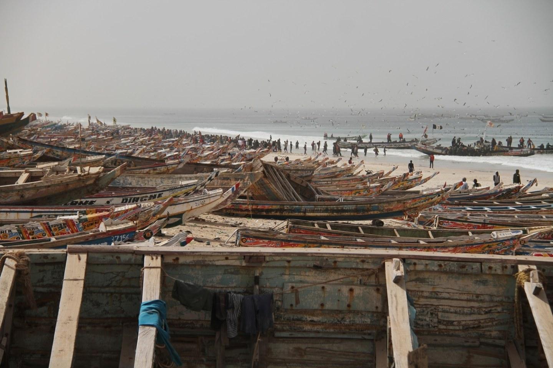 Nouakchott beach traditional fishing boats