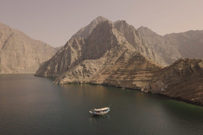 Musandam Fjords Drone shot Oman Khasab Dhow Cruise