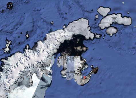 Graham Land, showing the tip of the Antarctic Peninsula and surrounding islands.