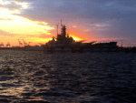 USS Alabama at Sunset