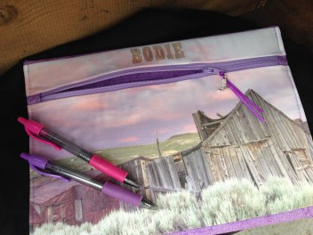 Bodie sunset weathered buildings zipper pouch made by Wild Onion Creations