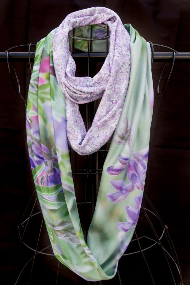 beautiful purple lupines blooming on an infinity scarf doubled with a purple and gray mosaic scarf