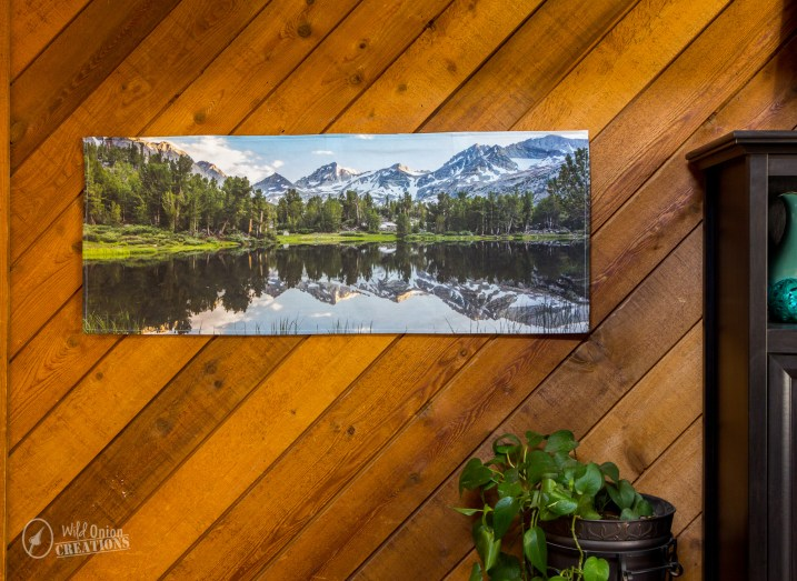 high sierra alpine lake reflection snow-capped mountains fabric wall art