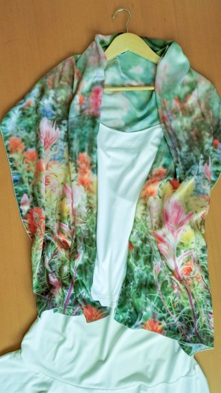 wildflowers scarf as shoulder wrap on white tank top