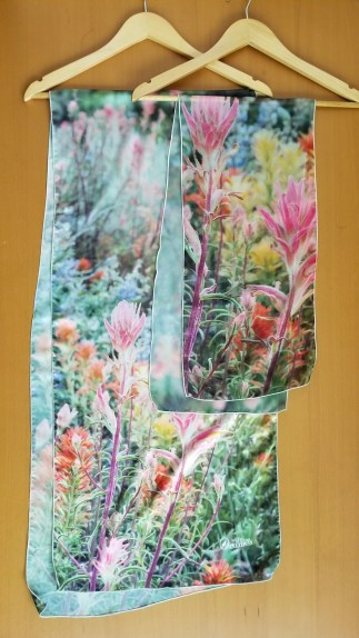 wildflowers photo scarf two sizes and fabrics- chiffon and charmeuse