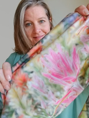 buttermilks wildflowers printed on scarf by Wild Onion Creations