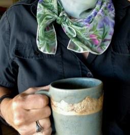 purple lupine wildflower scarf handmade green mountain mug