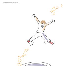 Kritzelei-Sprung-ins-neue-Jahr, mit schwung, sprung, mensch, kritzelbild, illustration, wildpeppermint-design.de