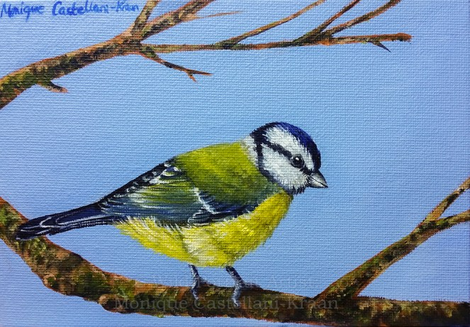 This little guy is a blue tit on 18 x 12.5cm canvas board. Own reference photo used. It only took around two hours to complete!