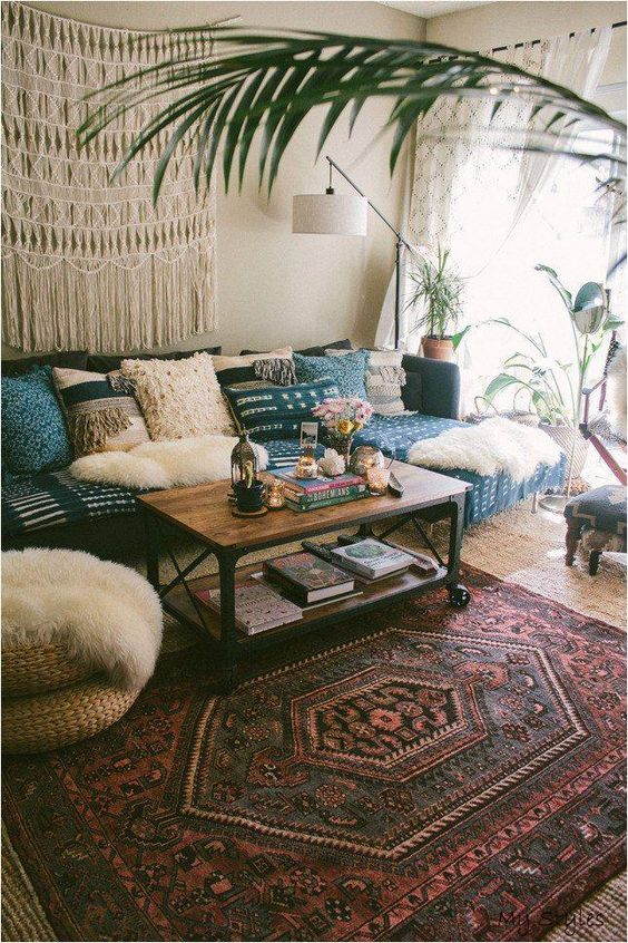 relaxed living room with bohemian rug