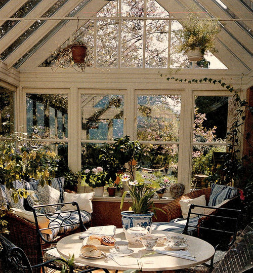 Cozy sun room with plants and chairs