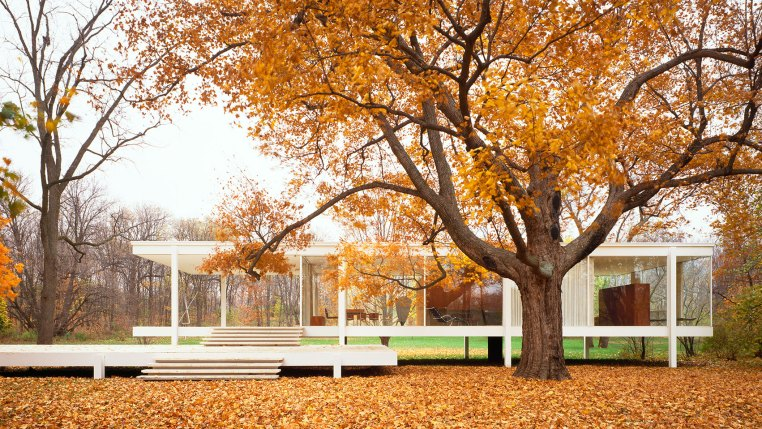 Famous house, the Farnsworth House, in Chicago, was designed by Mies van der Rohe.