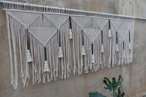 Modern detailed macrame hanging