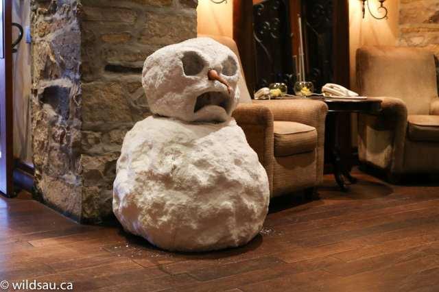 short snowman inside